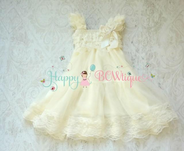 wedding photo - Rustic Flower girl dress, Ivory Chiffon Lace Dress Girls Ivory Dress,baby girl Baptism dress, Birthday,Girls fall Country dress, FLOWER GIRL