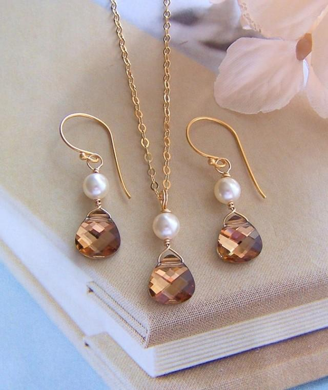 wedding photo - Bridal Necklace and Earring Set – Gold Filled, Tabac Swarovski Crystal, Cream Pearl, Bridal Jewelry, Bridesmaid Gift, Made Of Honor