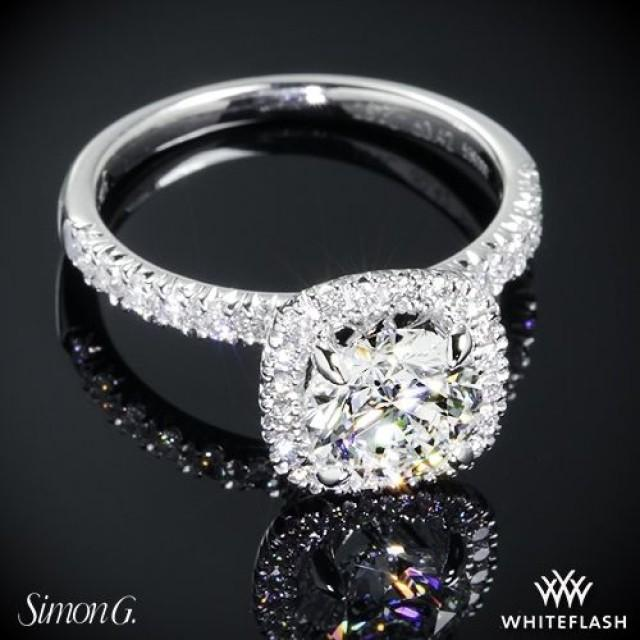 wedding photo - 18k White Gold Simon G MR2132 Passion Diamond Engagement Ring