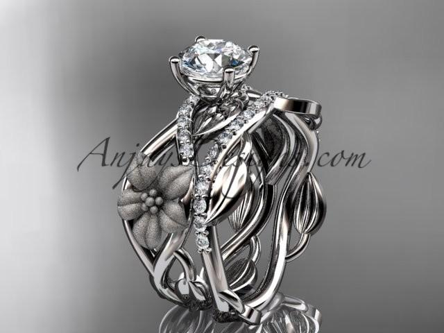 wedding photo - Unique 14kt white gold floral diamond wedding ring, engagement set ADLR270S