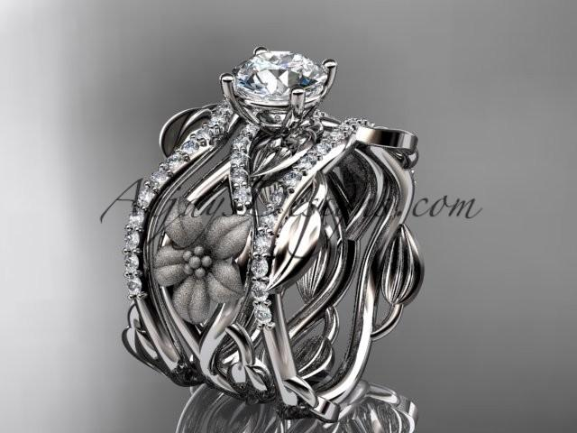 "wedding photo - Unique platinum floral diamond wedding ring, engagement ring with a ""Forever One"" Moissanite center stone and double matching band ADLR270S"