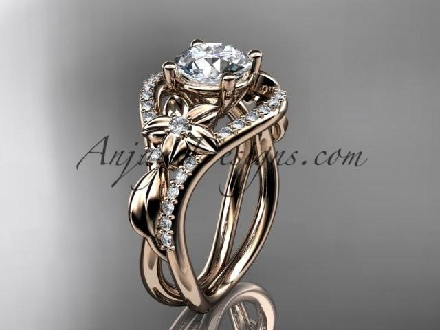 wedding photo - Unique 14kt rose gold diamond leaf and vine wedding ring, engagement ring ADLR244