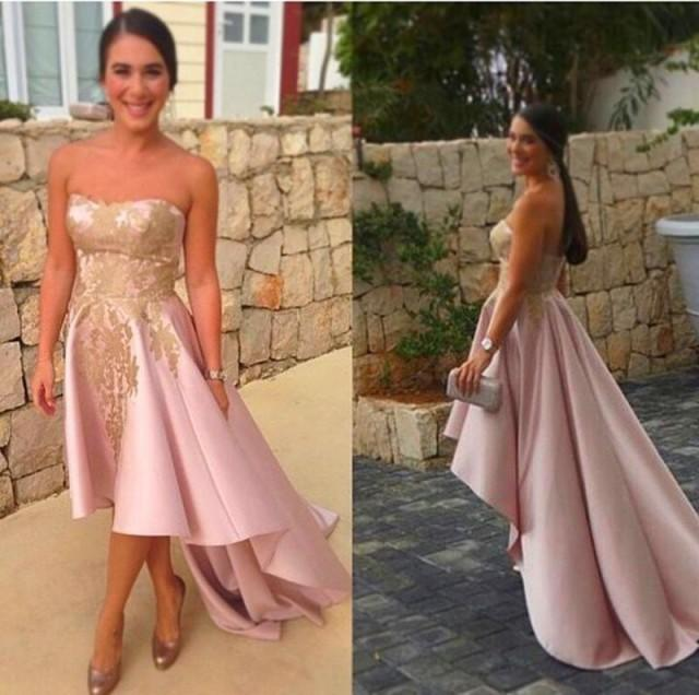 Refreshing 2015 Arabic Pink Evening Dresses With Gold