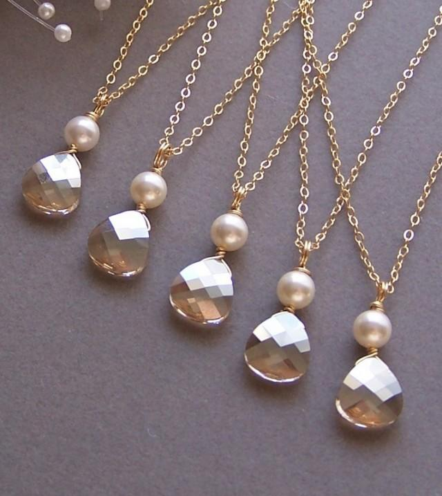 wedding photo - Bries Bridesmaids Necklace,Five (5) Necklaces, Champagne Swarovski Crystal, Custom Crystal Necklace, Bridal Jewelry, Pearl Necklace