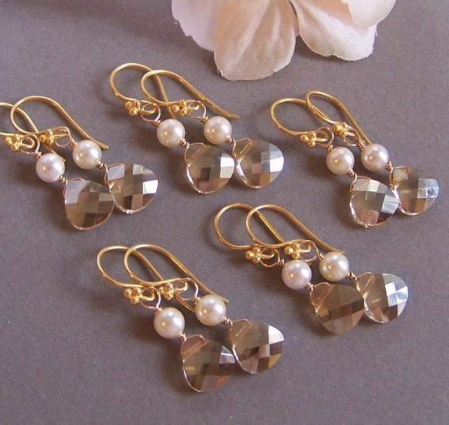 wedding photo - Bries Bridesmaids Earrings - Five (5) Earrings Sets - Customizable Swarovski Crystal and 14k Gold Filed, Bridal Jewelry