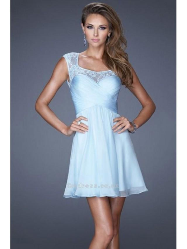 wedding photo - A Line Short Mini Square Neckline Open Back Lace And Chiffon Homecoming Dresses SKU: HD00170-LF