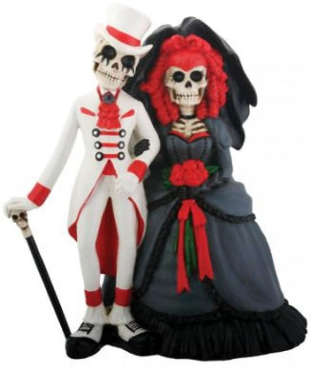 never dies bride groom day of the dead gothic wedding cake toppers