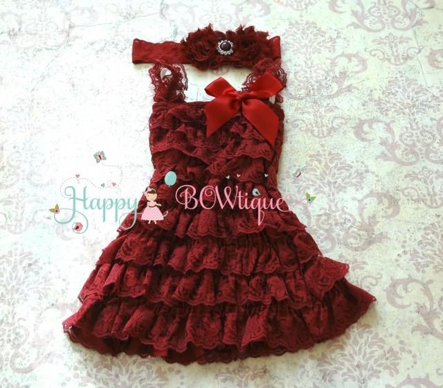 wedding photo - Holiday Girls Dress- Burgundy Lace Dress set, Red dress,baby girls dress,Birthday outfit, flower girl dress,Burgundy dress, Christmas dress