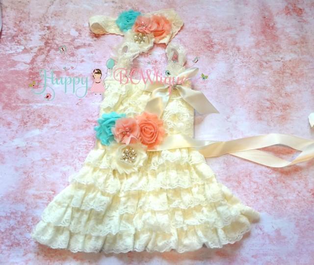 wedding photo - Ivory Blush Peach Aqua dress set,  Flower girls dress,Ivory  Dress, baptism dress,girls dress, Birthday dress,fall dress,baby dress,blush
