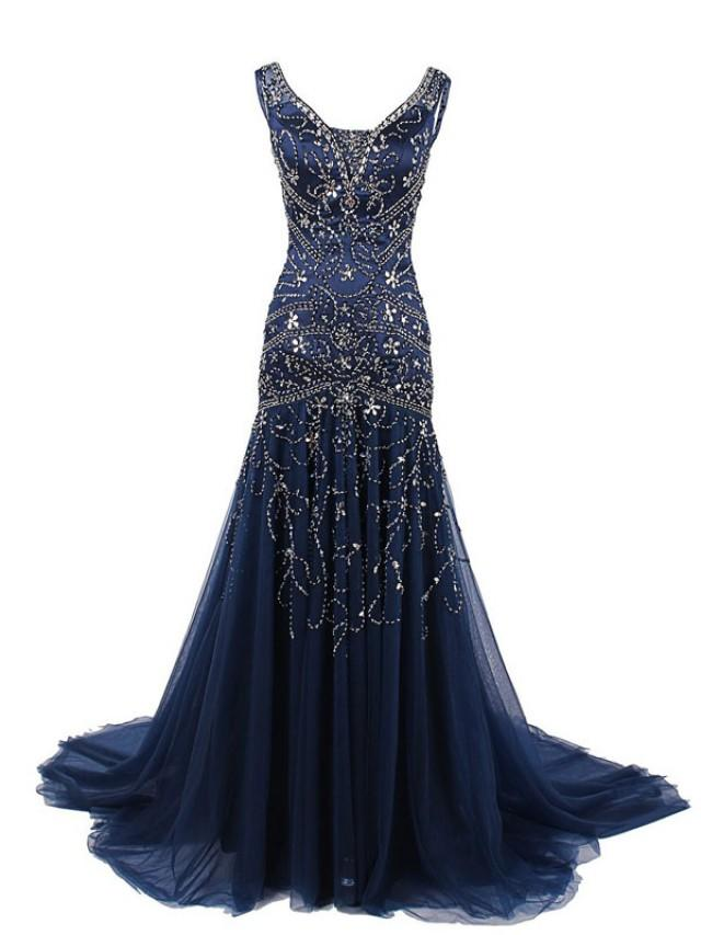 Evening Dresses Navy Blue Eligent Prom Dresses