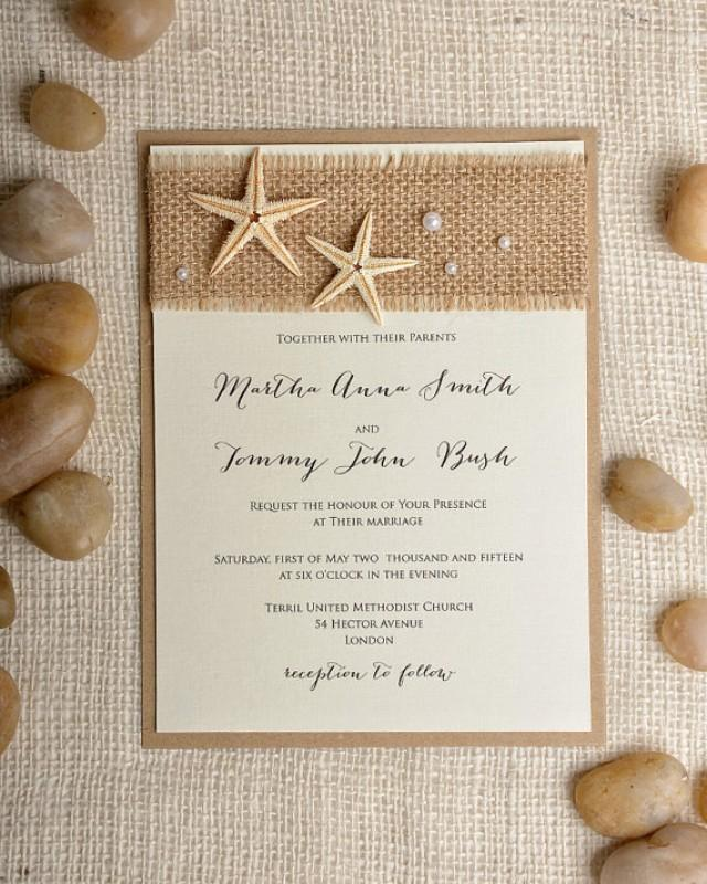 Starfish Wedding Invitation 20 Beach Invitation Destination Invitation Rustic Invitations