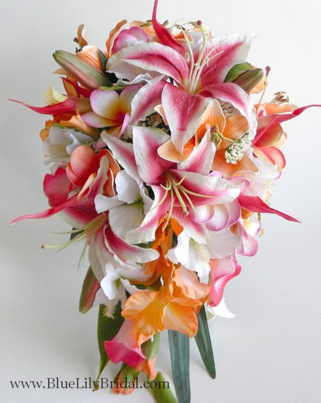 Bridal Bouquet Tropical Flowers : Stargazer cascade bridal bouquet in hot pink and orange