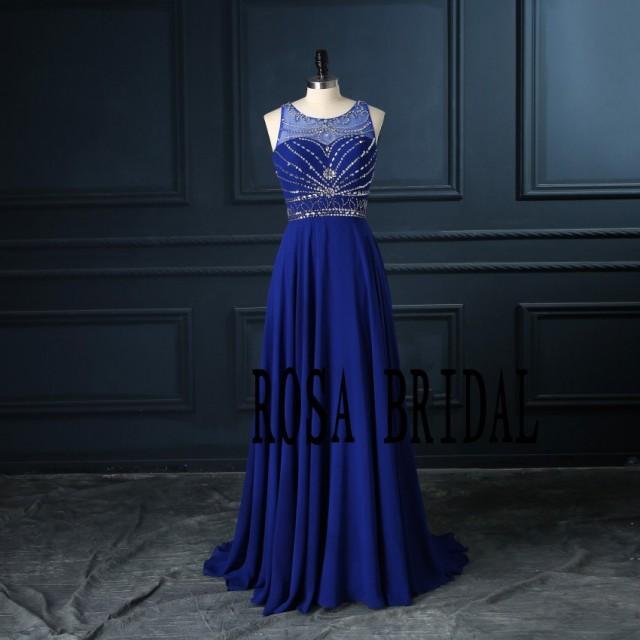 Wedding Dress With Royal Blue Color : Royal blue bridesmaid dress long chiffon