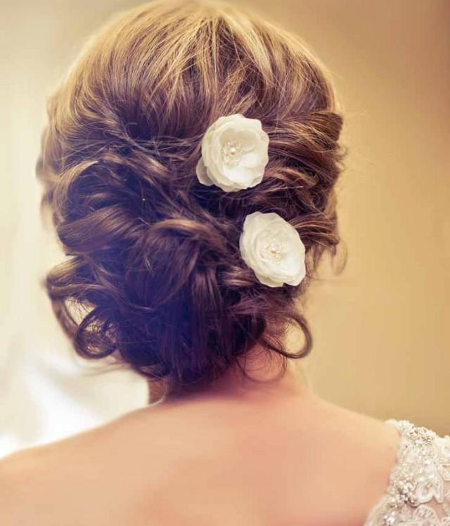 wedding photo - Wedding Bridal Mini Ivory Hair Flower Set of Three with Pearls and Crystals