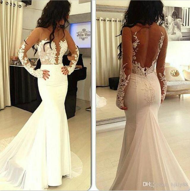 Real picture mermaid long sleeve 2015 wedding dresses for Backless satin wedding dress