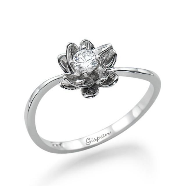 flower engagement ring white gold with conflict free