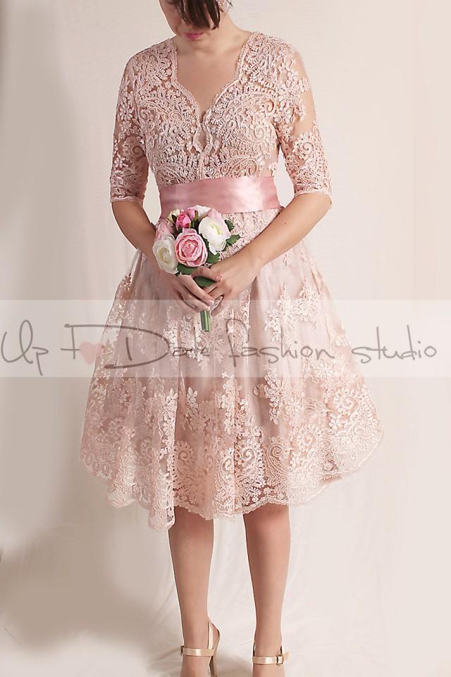 Lace short wedding party reception knee length v front for Short blush pink wedding dresses