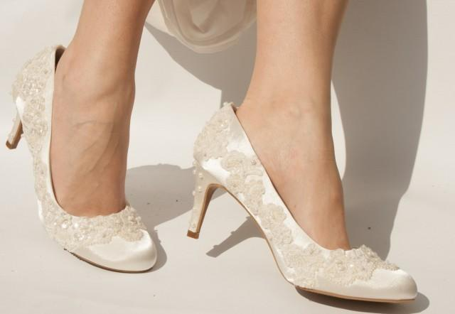 Bespoke Vintage Style Wedding Shoes With Beaded Lace And PearlsPerfect Country Wedding Shoes