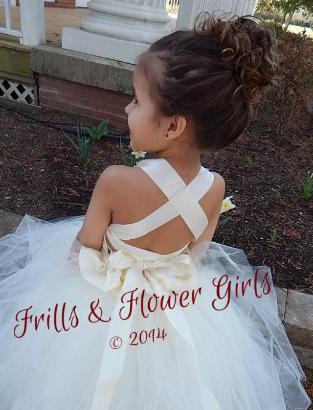 Ivory Flower Girl Dress Lace Halter Tutu Dress Flower Girl Dress ...