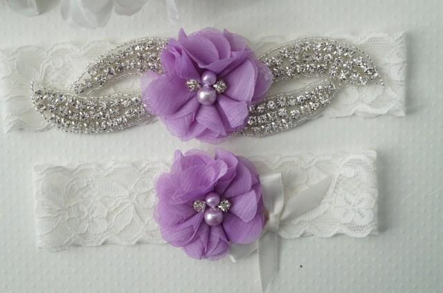 Wedding Garter Set Bridal Garter Lavender Bridal Garter Purple Wedding S