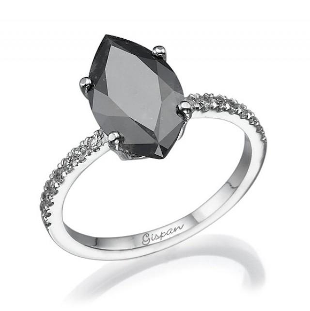 Marquise Black Diamond Engagement Ring White Gold With White Diamonds Marqui