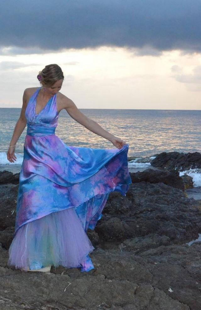 Ocean blue halter wedding dress with soho train and for Ocean blue wedding dress