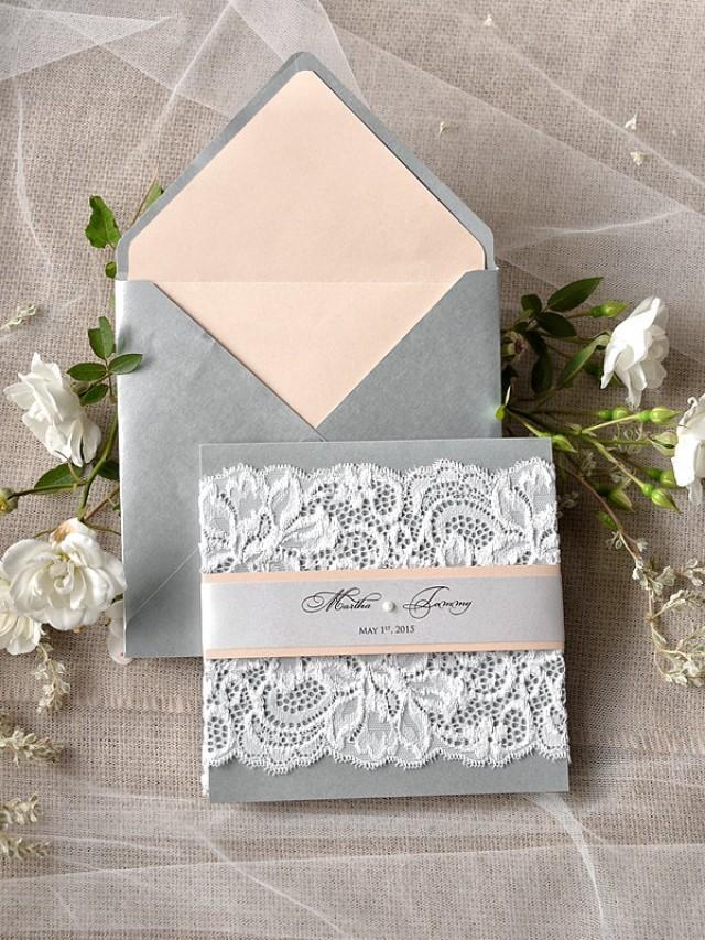 Romantic Wedding Invitation SilverampPeach Lace Wedding Invitations Vintage Wedding Invitation