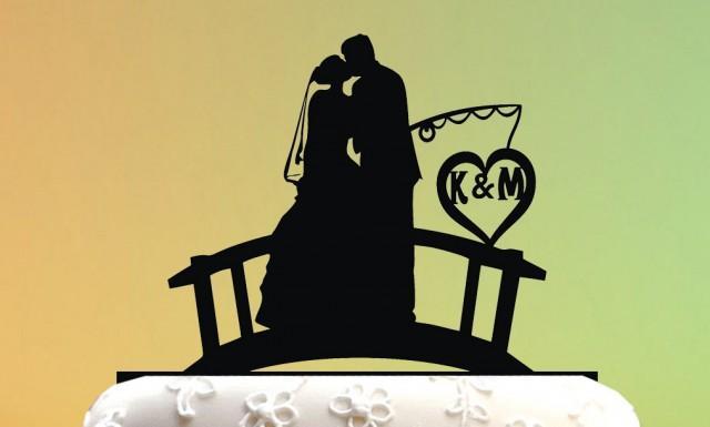 Wedding Cake Topper - Cake Topper Fishing Couple - Groom ...