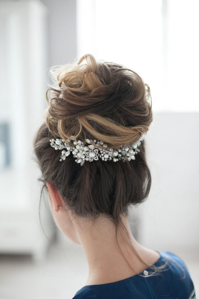 wedding photo - Bridal Headpiece Wedding Headpiece Bridal Head Piece Decorative Hair Adornment Large Decorative Bridal Hair Comb