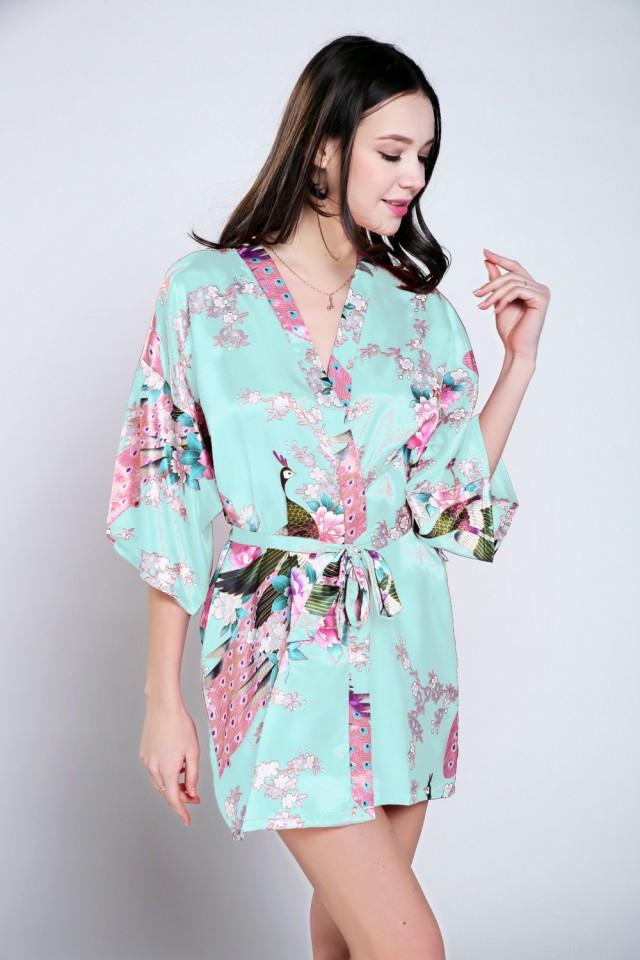 Blue Satin Dressing Gown Bride Dressing Gown Floral