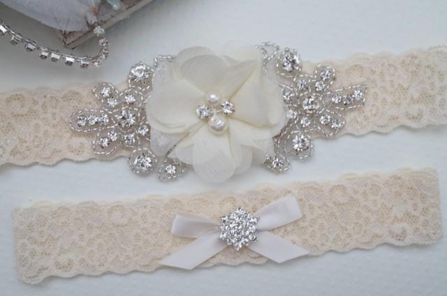 Wedding Garter Belt Bridal Garter Set Rustic Bridal Garter Keepsake Garter Toss Garter