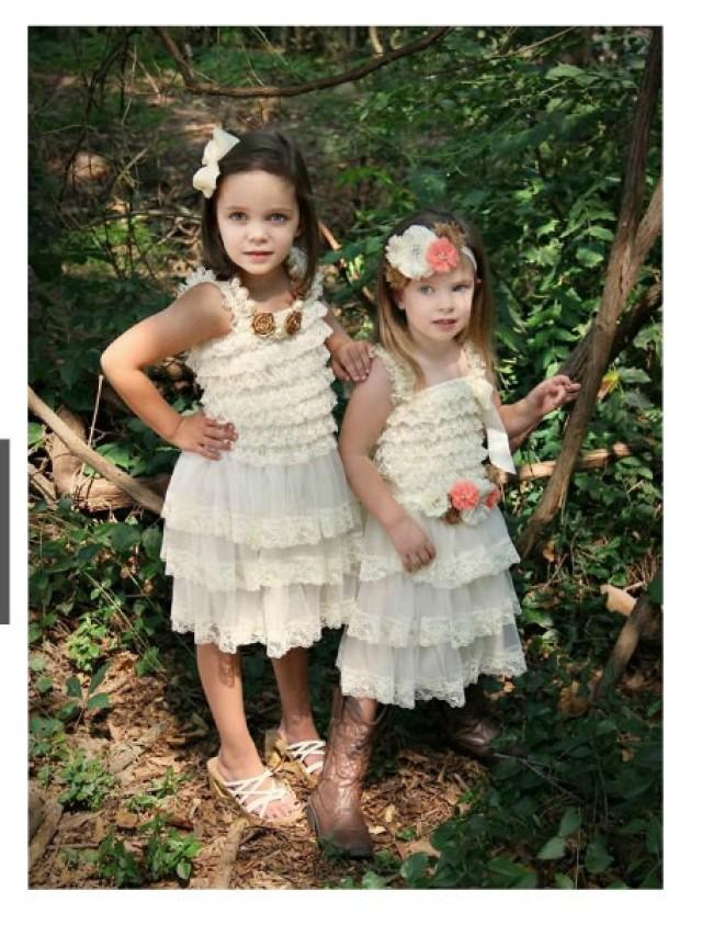 Flower girl dress ivory lace dress rustic dress vintage for Country wedding flower girl dresses