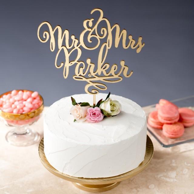Gold mr mrs cake topper custom cake topper for wedding for Bj custom designs