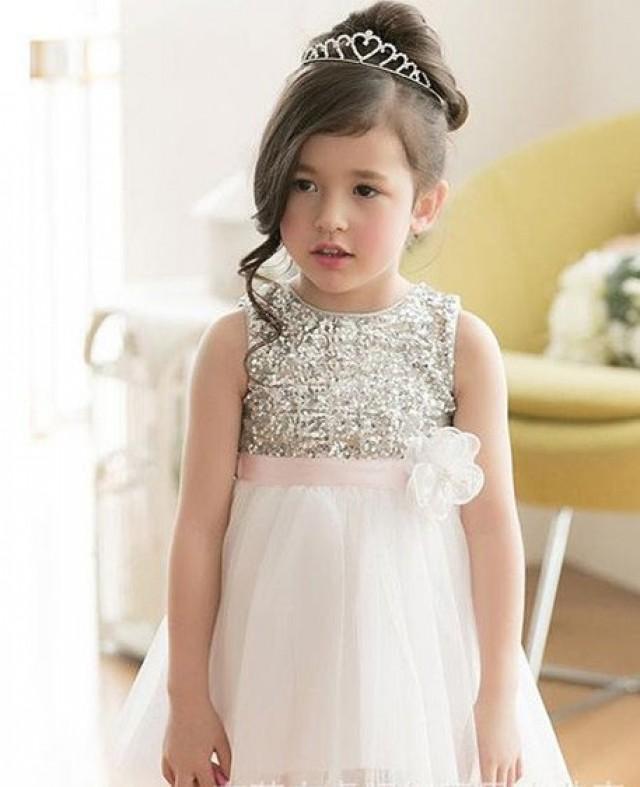 a06952463 Silver Sequin Flower Girl Dress / White Tulle Flower Girl Dress / Flower  Girl Dress / Junior Bridesmaid Dress / Birthday Dress / White Dress  #2399628 - ...