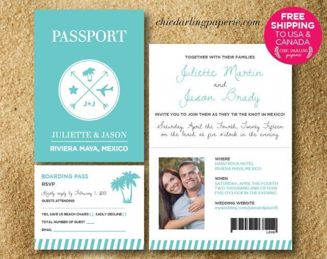 Destination Wedding Invitations Passport: FREE SHIPPING Printed Or Digital Passport Wedding