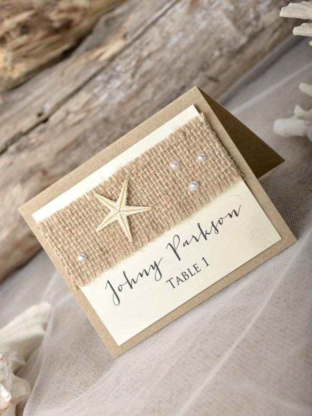 Rustic beach wedding place cads 20 beach place cards for Place card for wedding
