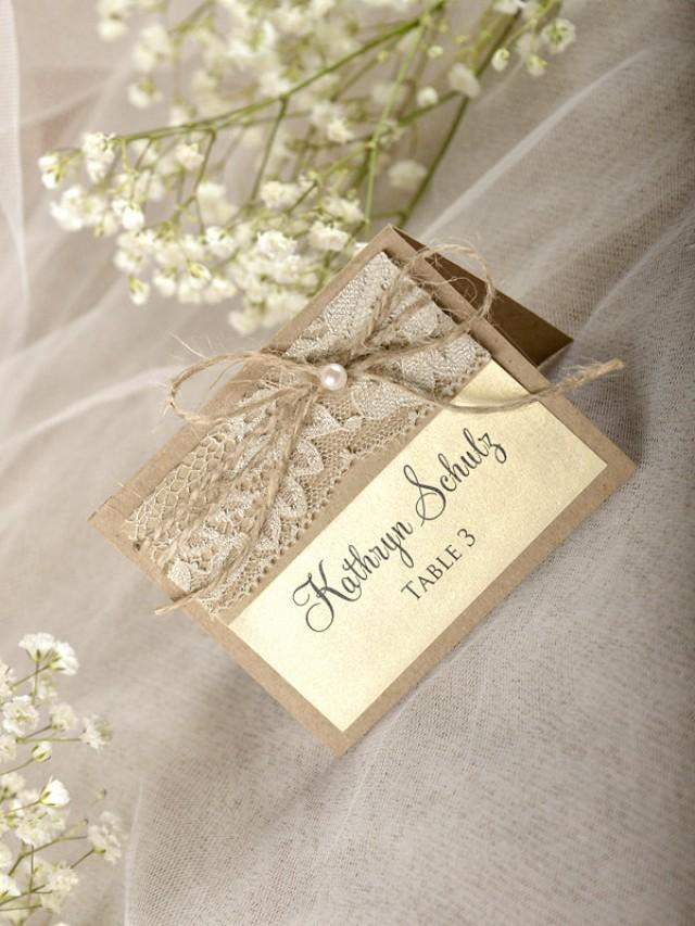 Rustic place cards 20 lace place cards wedding for Table place cards