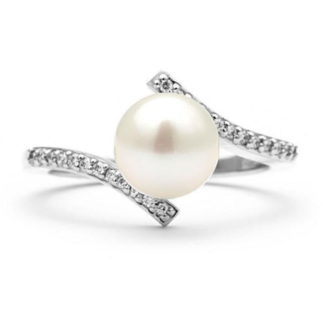 engagement ring pearl ring 14k white gold ring
