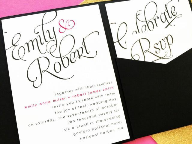 Scripted Wedding Invitation Pocket Fold Wedding Invitation Pocket Invitatio