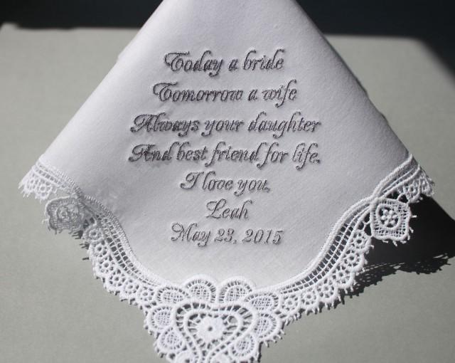 Personalized wedding handkerchiefs embroidered to mother