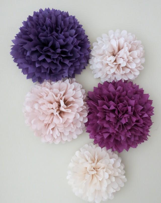 5 pom poms garden romance tissue paper pom poms purple poms paper decorations wedding. Black Bedroom Furniture Sets. Home Design Ideas