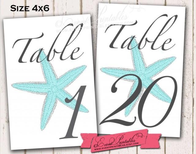 1 To 20 Printable Starfish Table Numbers Aqua 4x6 Diy