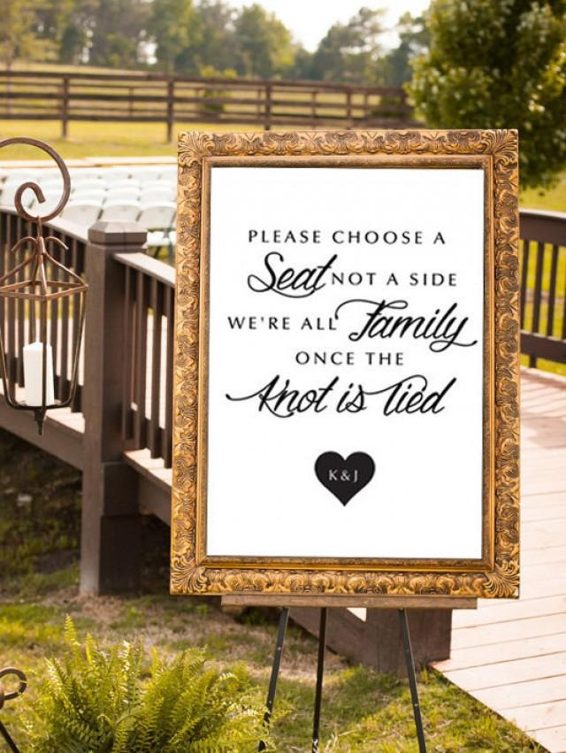 Choose A Seat Not A Side Wedding Sign Were All Family Modern Poster Wedding Sign Ceremony