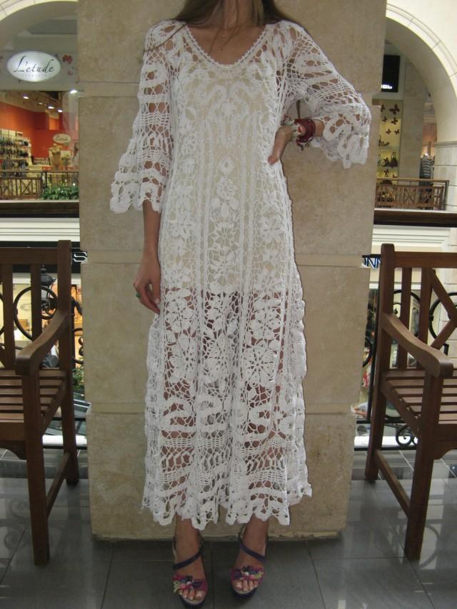 Crochet White Dress : Crochet Maxi Dress Handmade White Dress Wedding Dress Crochet White ...
