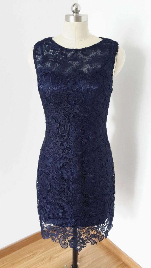 2015 sheath navy blue lace short bridesmaid dress 2400733