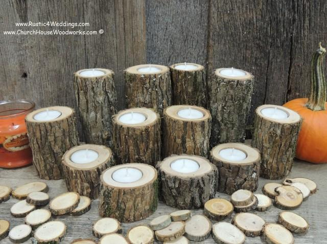 Rustic candle holders tree branch