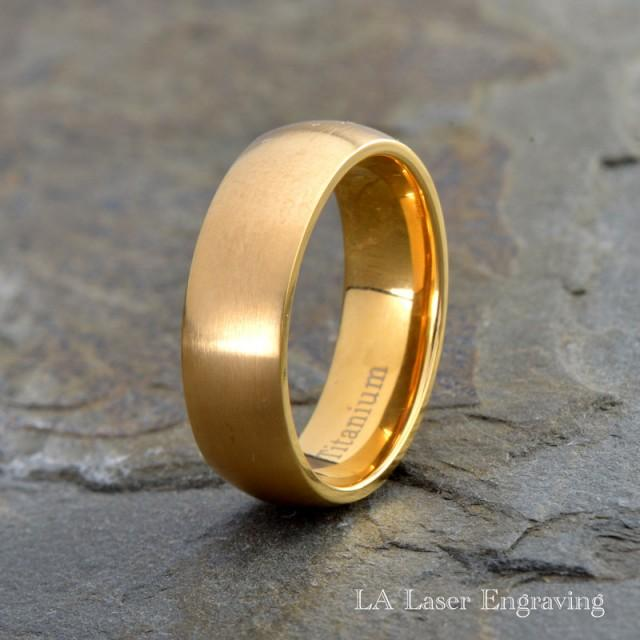 Mens Titanium Wedding Band Yellow Gold Plated Brushed Domed Ring His HersTitanium