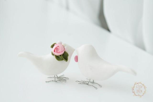 wedding photo - Wedding Birds Cake Topper White cake topper Wedding birds favors Wedding cake picks Toppers for cakes handmade Cake Topper
