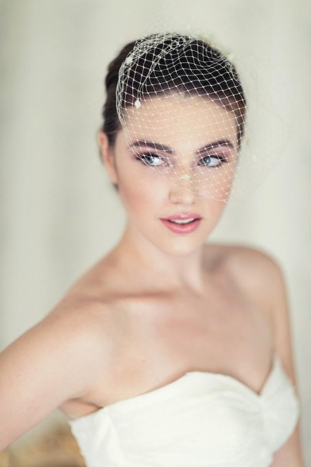 wedding photo - Ready to Ship - Ivory Bridal Birdcage veil, Chenille Dot Blusher Birdcage Veil, Ready to Ship in 1 Week