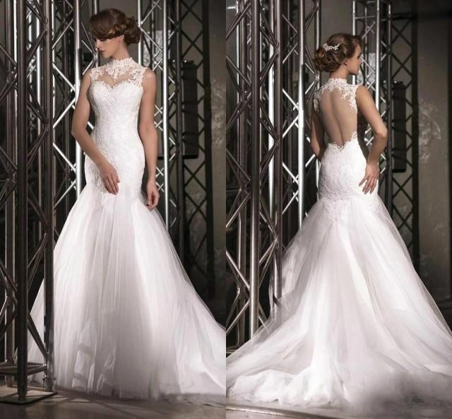 2016 new designer high neck mermaid wedding dresses white for High neck backless wedding dress